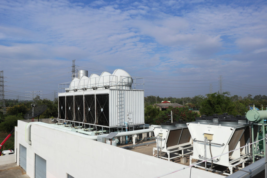 Cooling Tower on Roof of Commercial Building