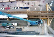 aerial view of tall crane