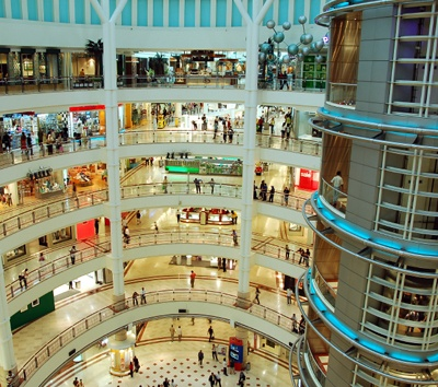 Atrium of a shopping mall with efficient HVACR systems.
